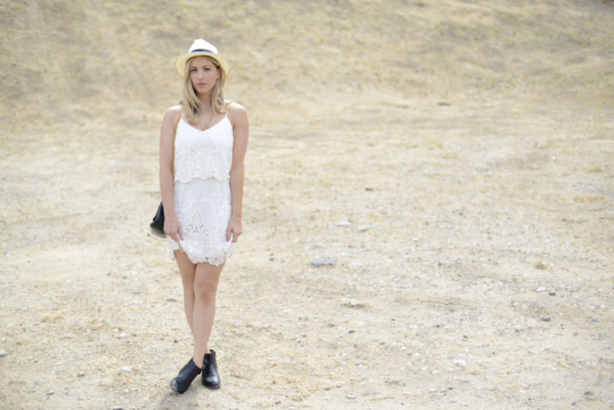 Goorin Bros. Hat, Dolce Vita Dress, Vintage Chanel Bag, H by Hudson Booties, Essie 'Madison Ave-hue' Nail Polish