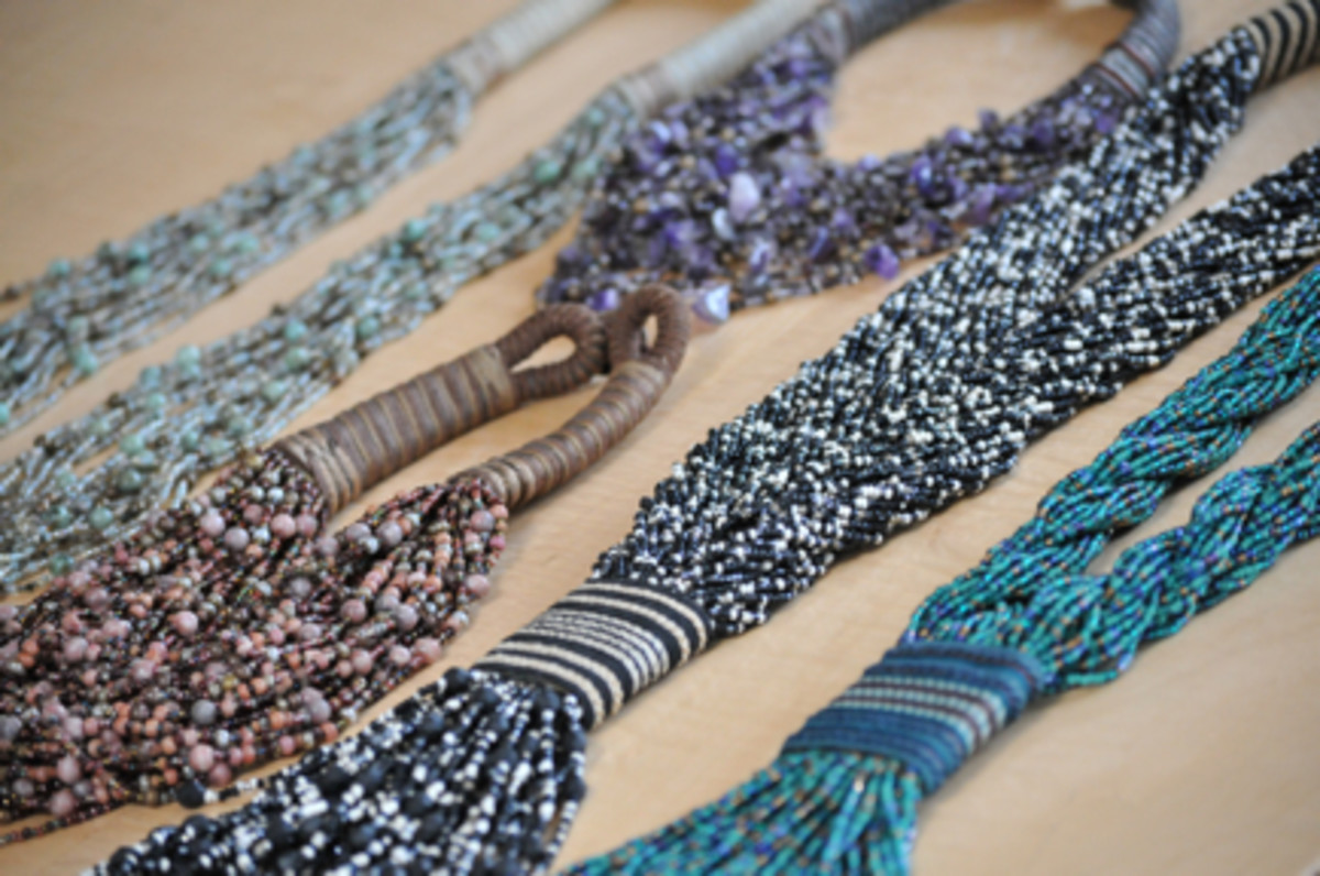 {Some of her beaded necklaces from the 80's that I now want to borrow.}