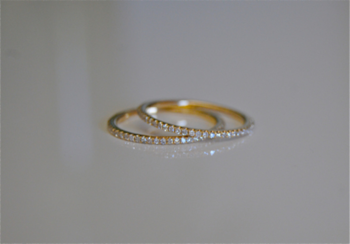 {Teeny pave diamond rings from XIV Karats (pictured here)}