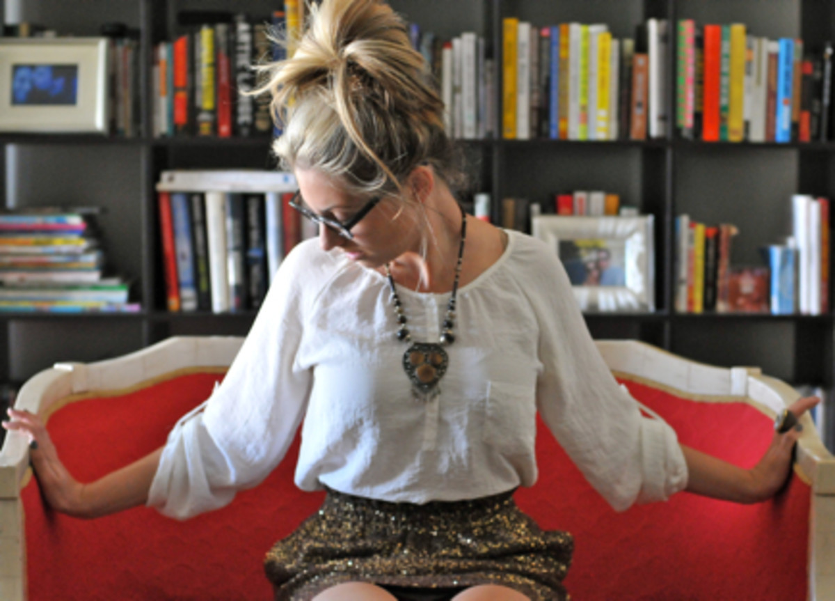 Coach Boots (c/o) Zara Top, Moscot Glasses, Vintage Necklace, J.Crew Skirt, Switch Wooden Ring