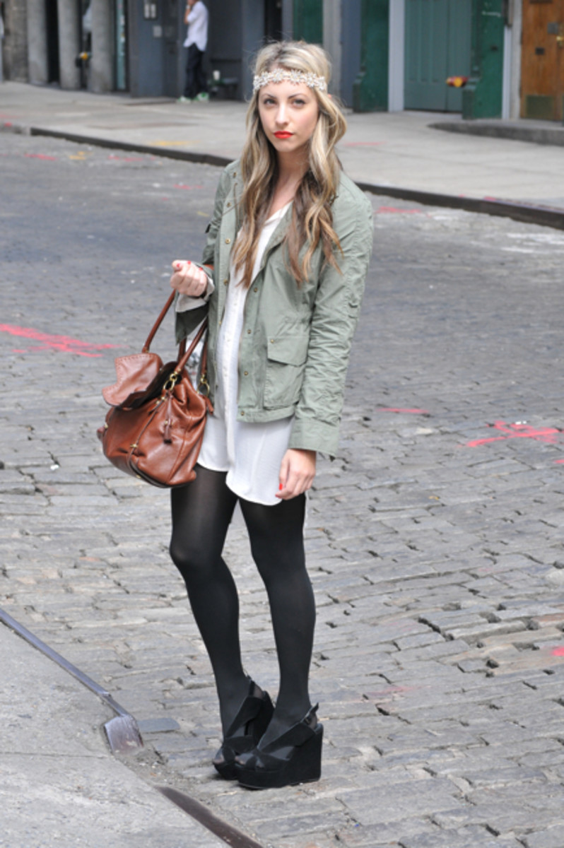 Express Jacket, Gifted Berman Headband, Gifted Coach Bag, H&M Dress, Hue Tights, Jeffrey Campbell Wedges