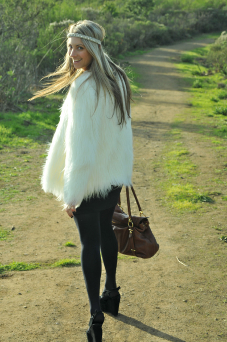 Love Berman Headband, Zara Faux Fur Coat, Gap Dress, H&M Belt and Tights, Jeffrey Campbell Platforms, Coach Bag