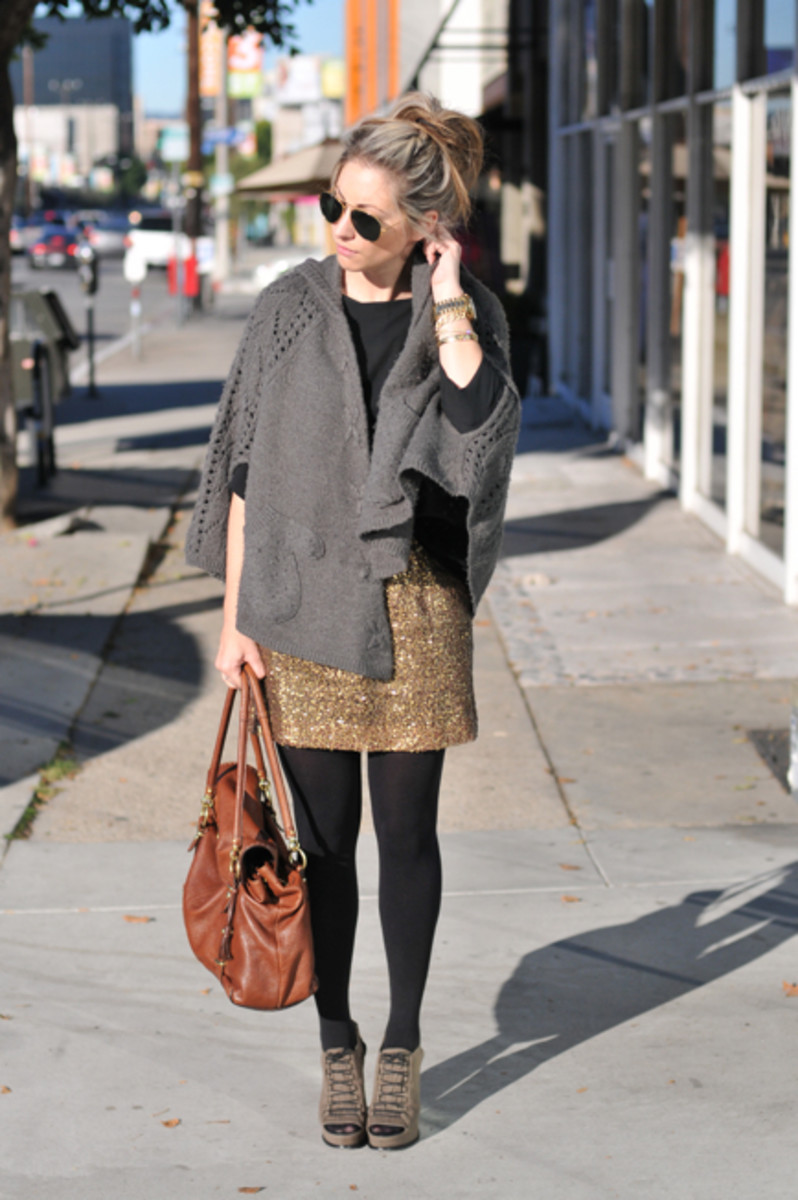 Vintage Aviators, Forever 21 Cape, Zara Top, J.Crew Skirt (similar one HERE), Coach Bag, Michael Kors Watch, Urban Outfitters Tights, Elizabeth and James Booties