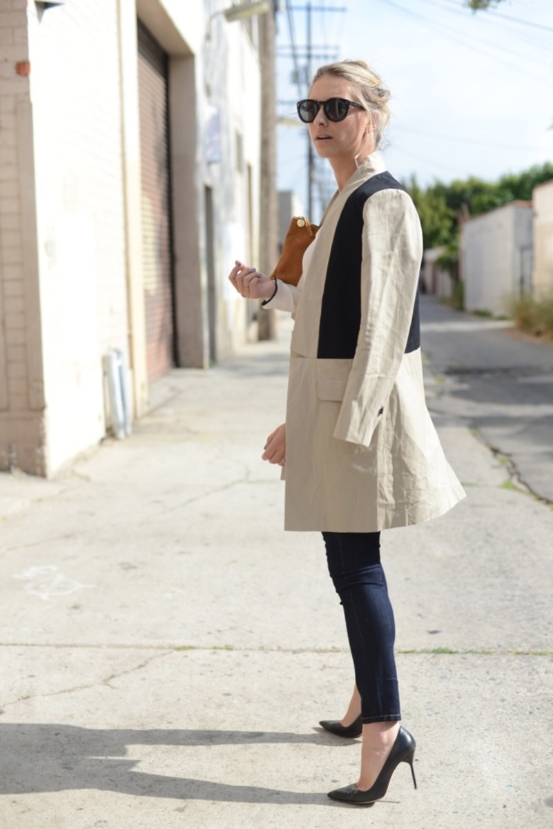 Celine Sunglasses,BB Dakota Trench(on sale), Zara Top,Blank Jeans, Manolo Blahnik Pumps,Clare Vivier Clutch,Essie 'Avenue Maintain' Nail Polish
