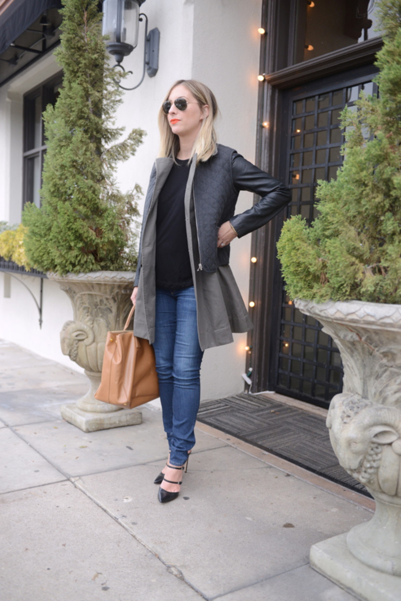 {Ray-Ban Aviators, Elizabeth and James Coat, Robert Rodriguez Shirt, AG Jeans c/o, Prada Bag, Gianvito Rossi Heels, Make-Up Forever #40 Lipstick}