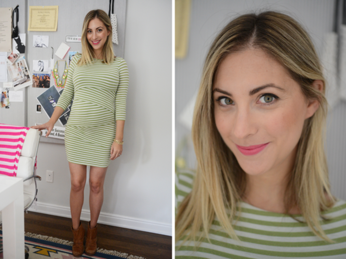 {Thursday: Anthropologie Dress, VPL Booties, Tom Ford 'Flamingo' Lipstick}