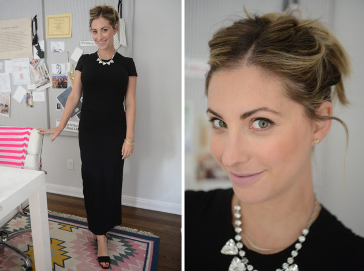 {Friday: James Perse Dress, Topshop Sandals, Forever 21 Necklace, MAC 'Snob' Lipstick}