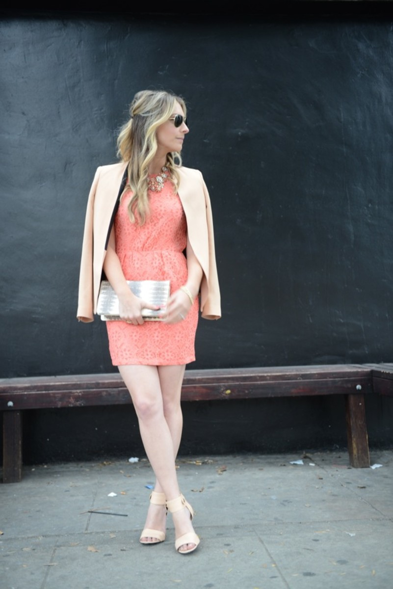Ray-Ban Aviators, Dolce Vita Dress, Zara Blazer, J.Crew Necklace, Alexander Wang Heels, Vintage Clutch