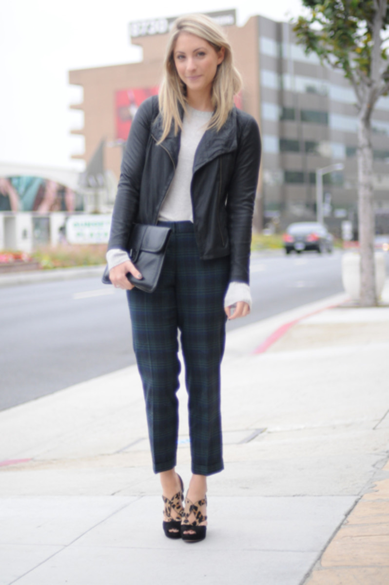 Vince Leather Jacket, J.Crew Sweater + Trousers,  Juicy Couture Clutch (c/o), Prada Heels