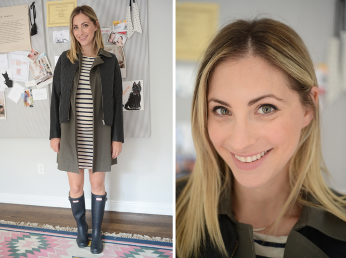 {Monday: James Perse Dress, Elizabeth and James Jacket, Hunter Boots, Topshop 'Whimsical' Lipstick}