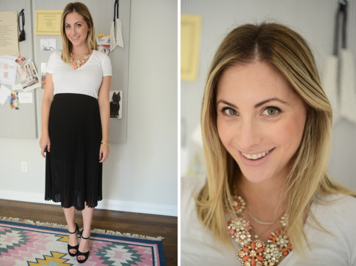 {Wednesday: Everlane Shirt, Club Monaco Skirt, J.Crew Necklace, Chanel Heels, Tom Ford 'Nude Vanille' Lipstick}