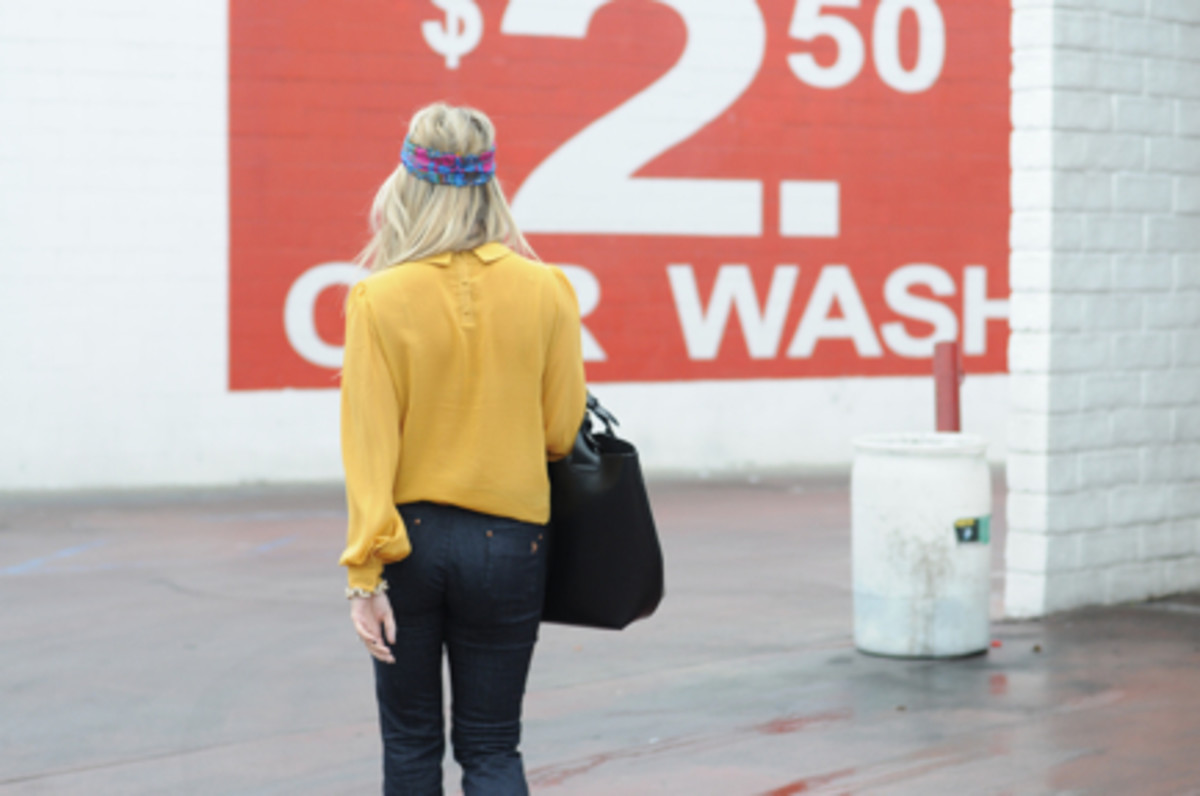 Vintage Scarf, Topshop Blouse (seenhere),MIH Jeans(c/o), Zara Bag, Jeffrey Campbell Platforms, J.Crew Bracelet