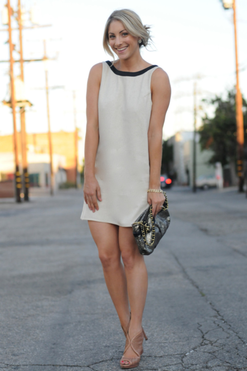 J.Crew Earrings, Karen Zambos Dress, Coach Clutch, Vintage Bracelet, Prada Heels