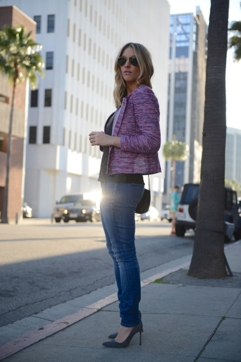 J.Crew Jacket, Ray-Ban Aviators, Zara Top, Elizabeth and James Jeans, Manolo Blahnik Pumps, Vintage Chanel Bag, M.A.C. Snob Lipstick, Essie Cute as a Button Nail Polish
