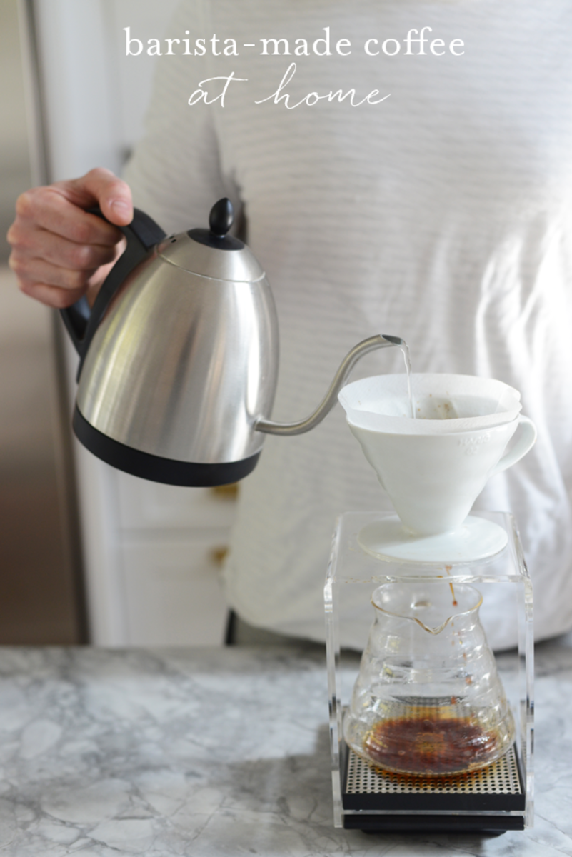 {Coffee Must-Haves: Bona Vita Water Kettle, Hario Drip Tray Coffee Dripper, Hario Scale}