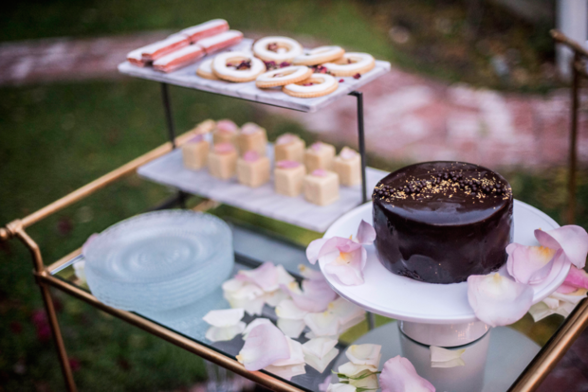 {Dessert bar with rose petals}