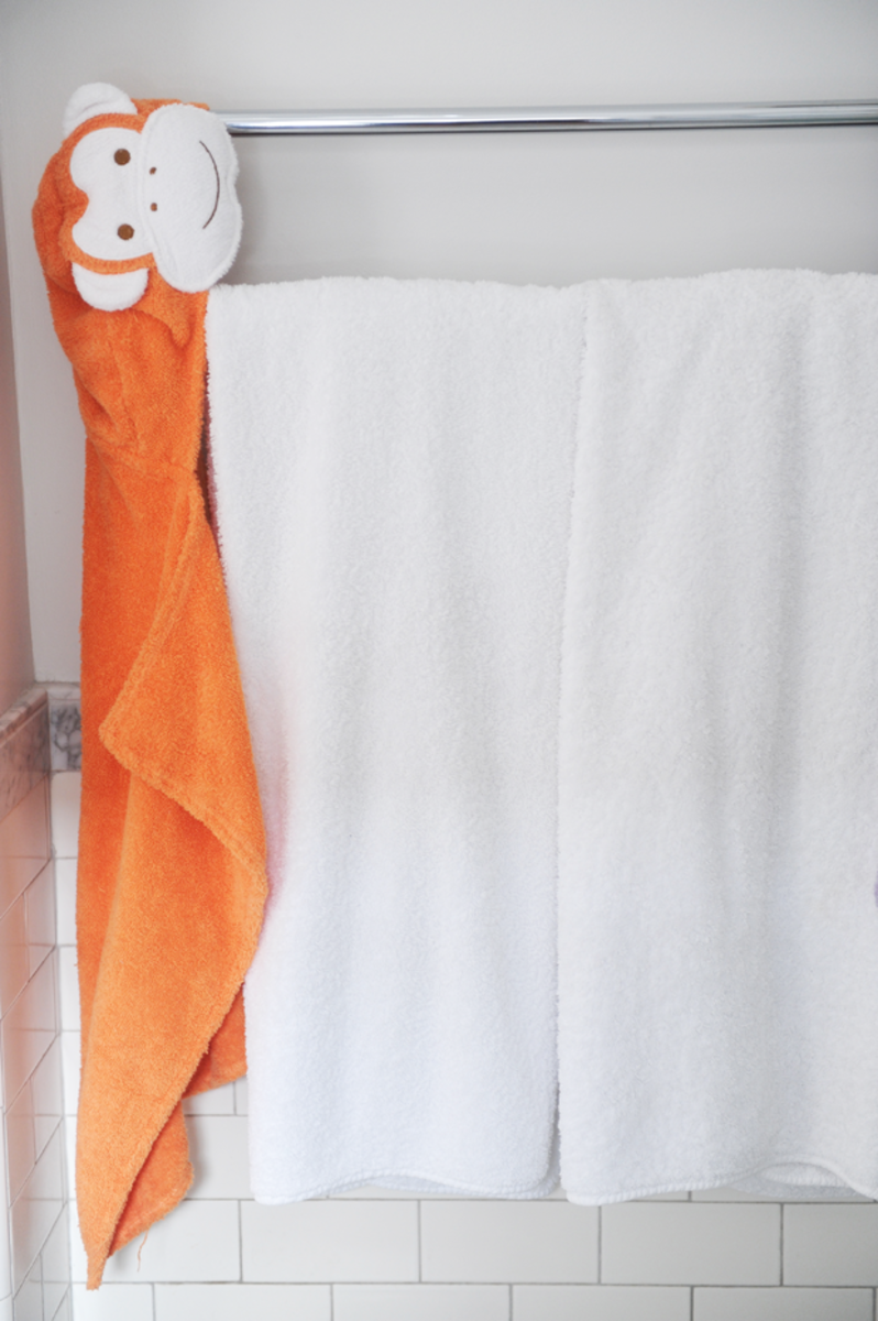 {New addition to the bathroom: animal towels}
