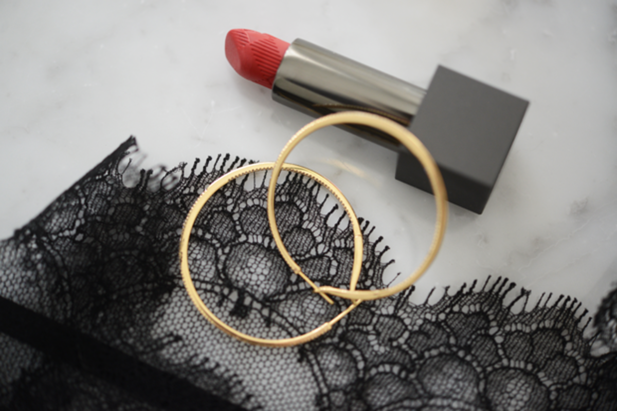{Date night necessities: Burberry Military Red lipstick, gold hoops and black lace}