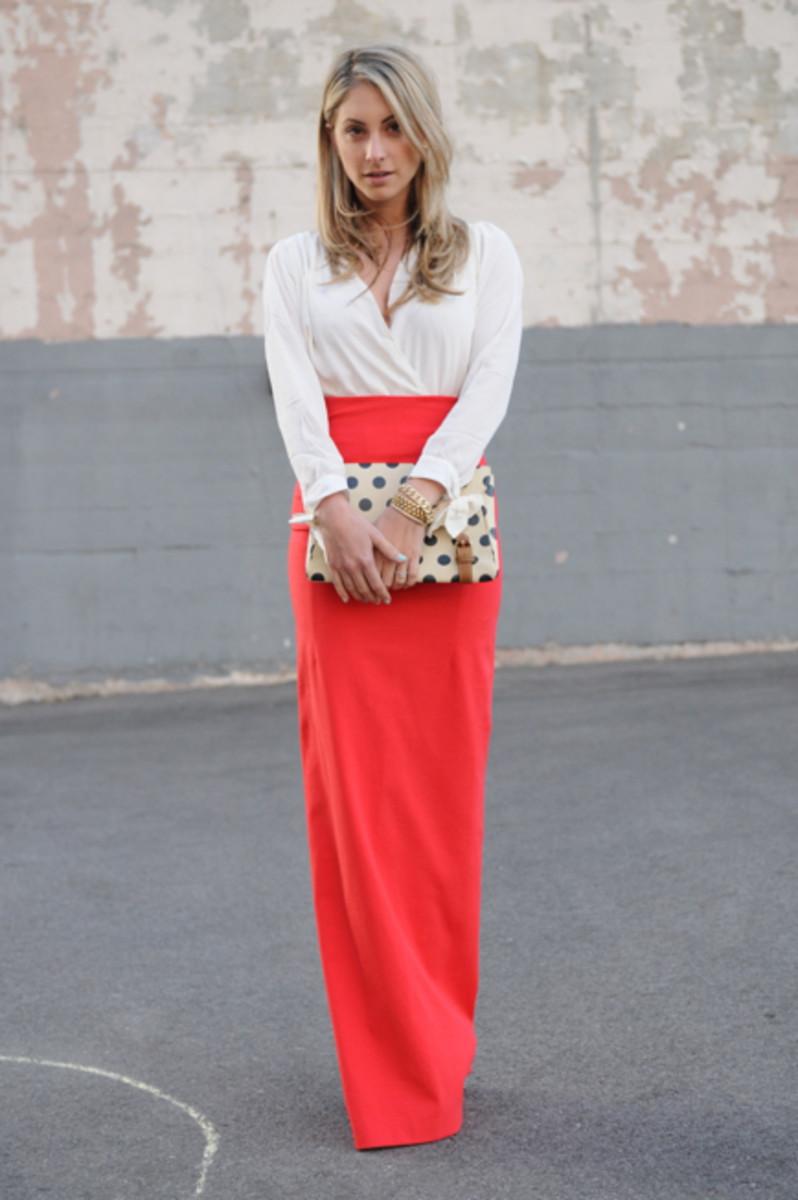Maurie & Eve Bodysuit, Acne Skirt, Alexis Bittar Earrings, Vintage + Dannijo Bracelets, Anthropologie Clutch, Alaia Heels