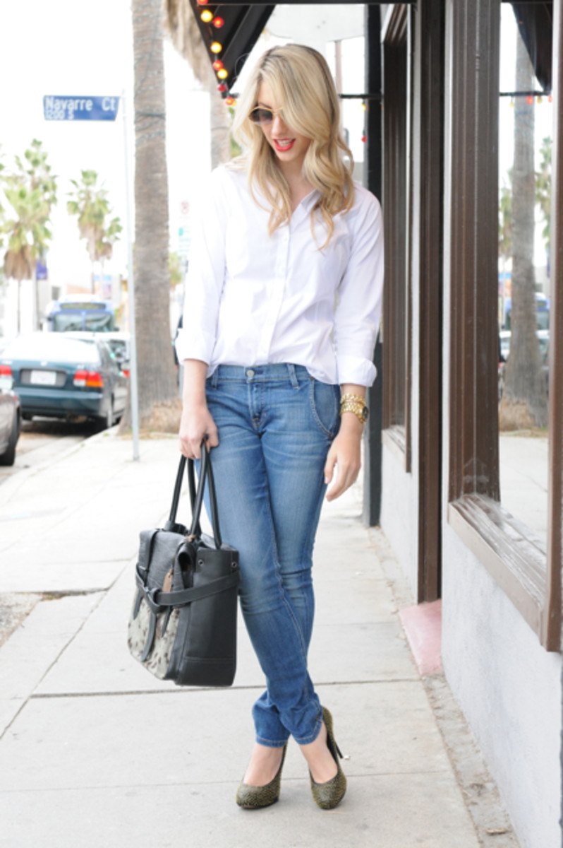 Cazal Sunglasses, Brooks Brothers Button-down, TEXTILE Elizabeth and James Iggy Jeans, Dolce Vita Heels, Reed Krakoff Bag, Michael Kors Watch, Estée Lauder Stay Scarlet Lipstick