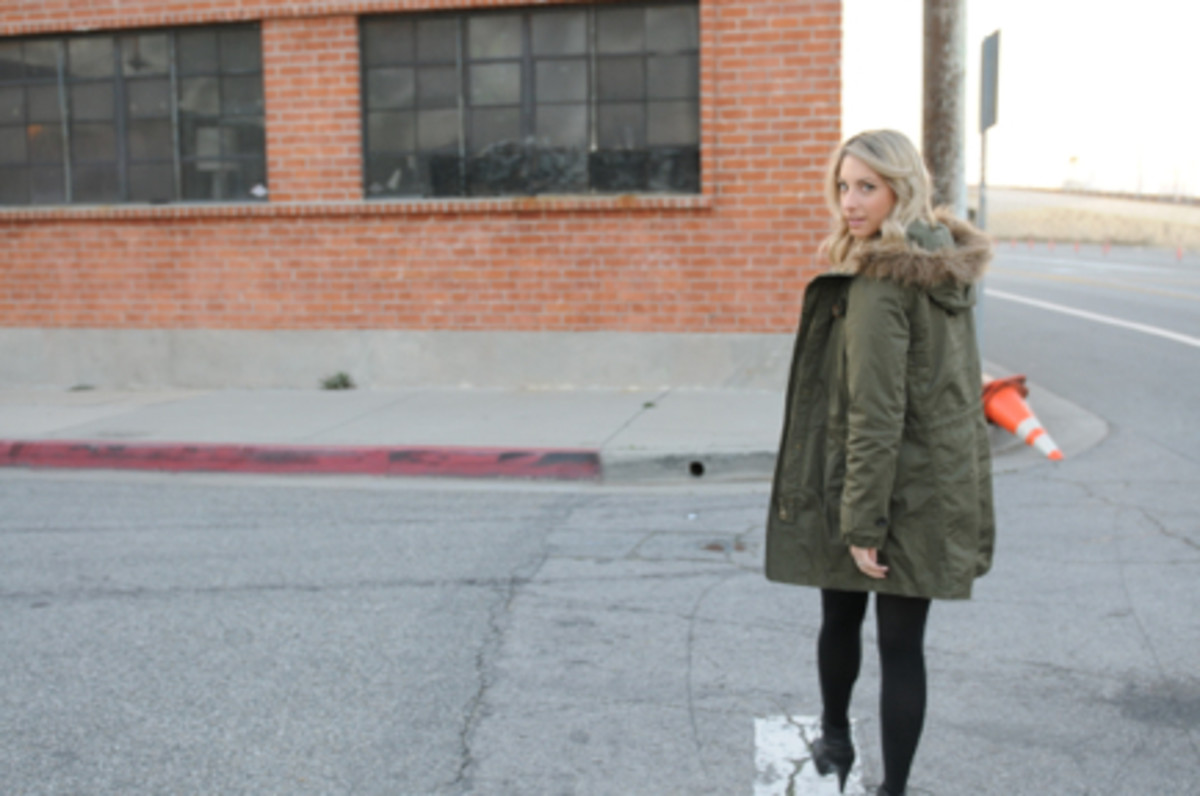Madewell Parka and Lace Dress, Hue Tights, Proenza Schouler Boots