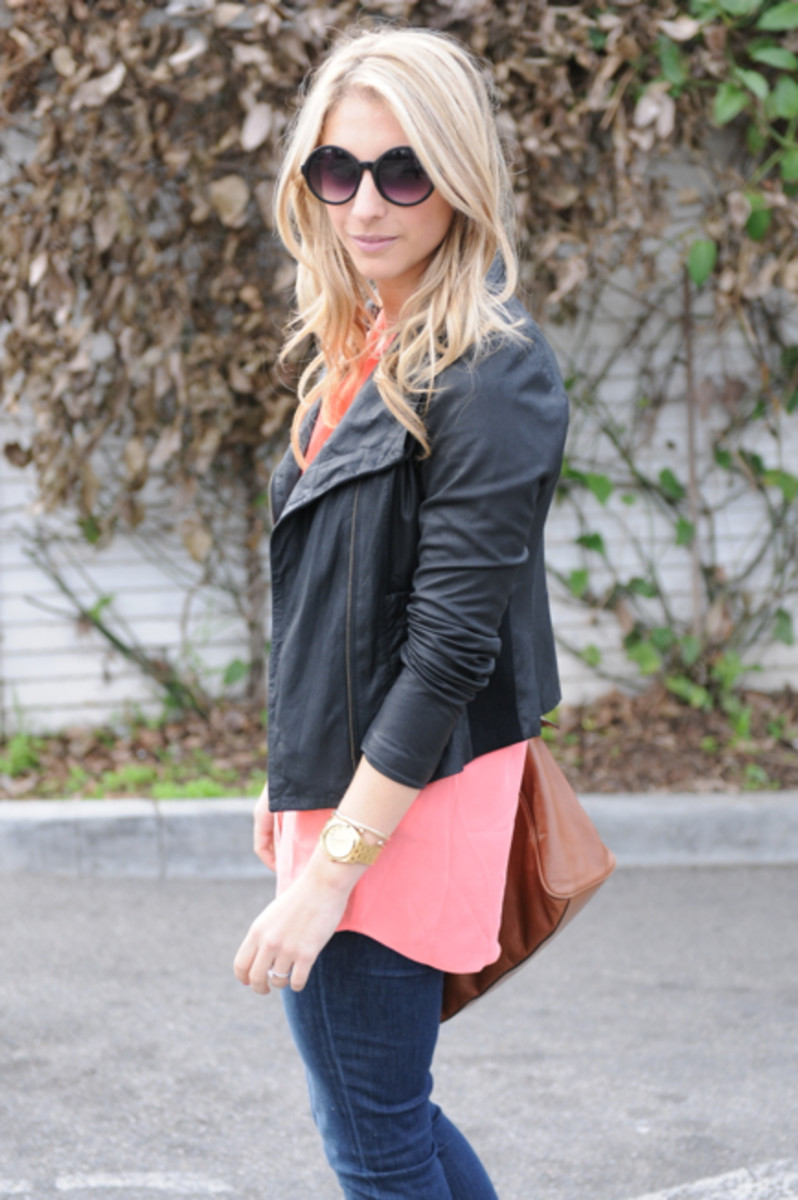 Free People Sunglasses, Equipment Blouse c/o, Vince Jacket, J.Crew Jeans, Nixon Watch, Mulberry Bag, Steve Madden Booties