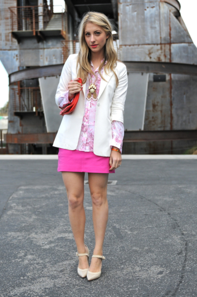 Elizabeth and James Blazer, Equipment Blouse c/o, Zara Skirt and Clutch, Gap Shoes, Anthropologie Necklace