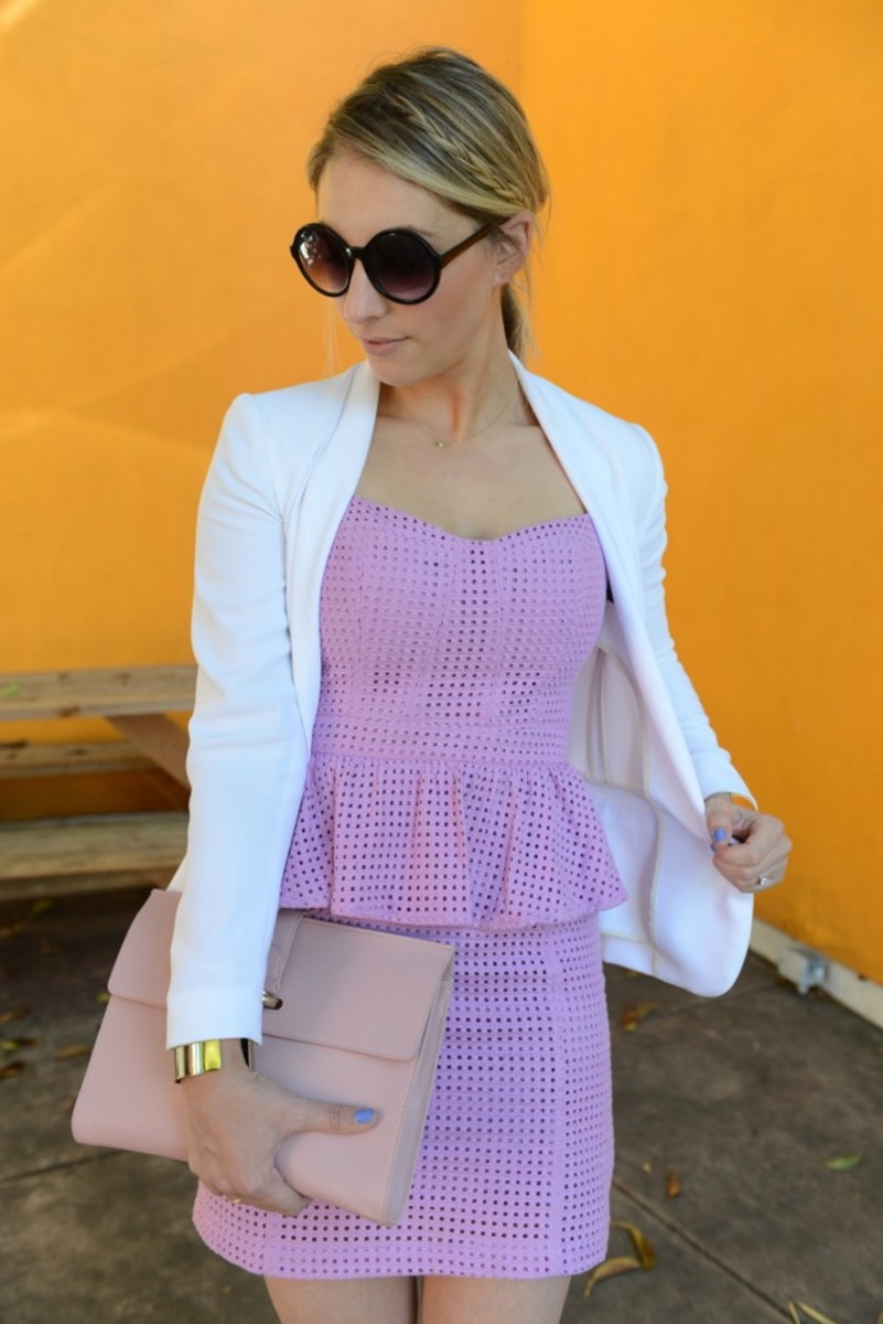 Rag & Bone Blazer, Addison Dress, Free People Sunglasses, Balenciaga Clutch, Topshop Cuffs, Prada Heels, Essie Boxer Shorts Nail Polish