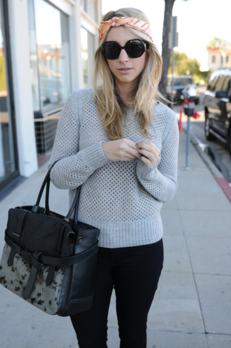 Vintage Scarf, Balenciaga Sunglasses, Club Monaco Sweater, Hudson Jeans c/o, Reed Krakoff Bag, Steve Madden Booties