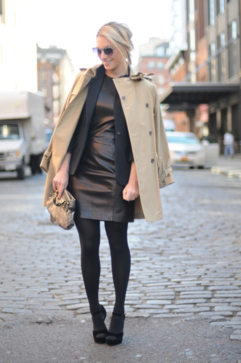 Ralph Lauren Trench and Leather Dress (borrowed), Elizabeth and James Blazer and Sunglasses c/o, Hue Tights, Chanel Heels, Coach Clutch