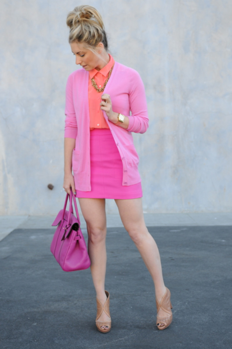 J.Crew Sweater and Necklace, Equipment Blouse, Nixon Watch, Zara Skirt, Mulberry Bag, Prada Shoes
