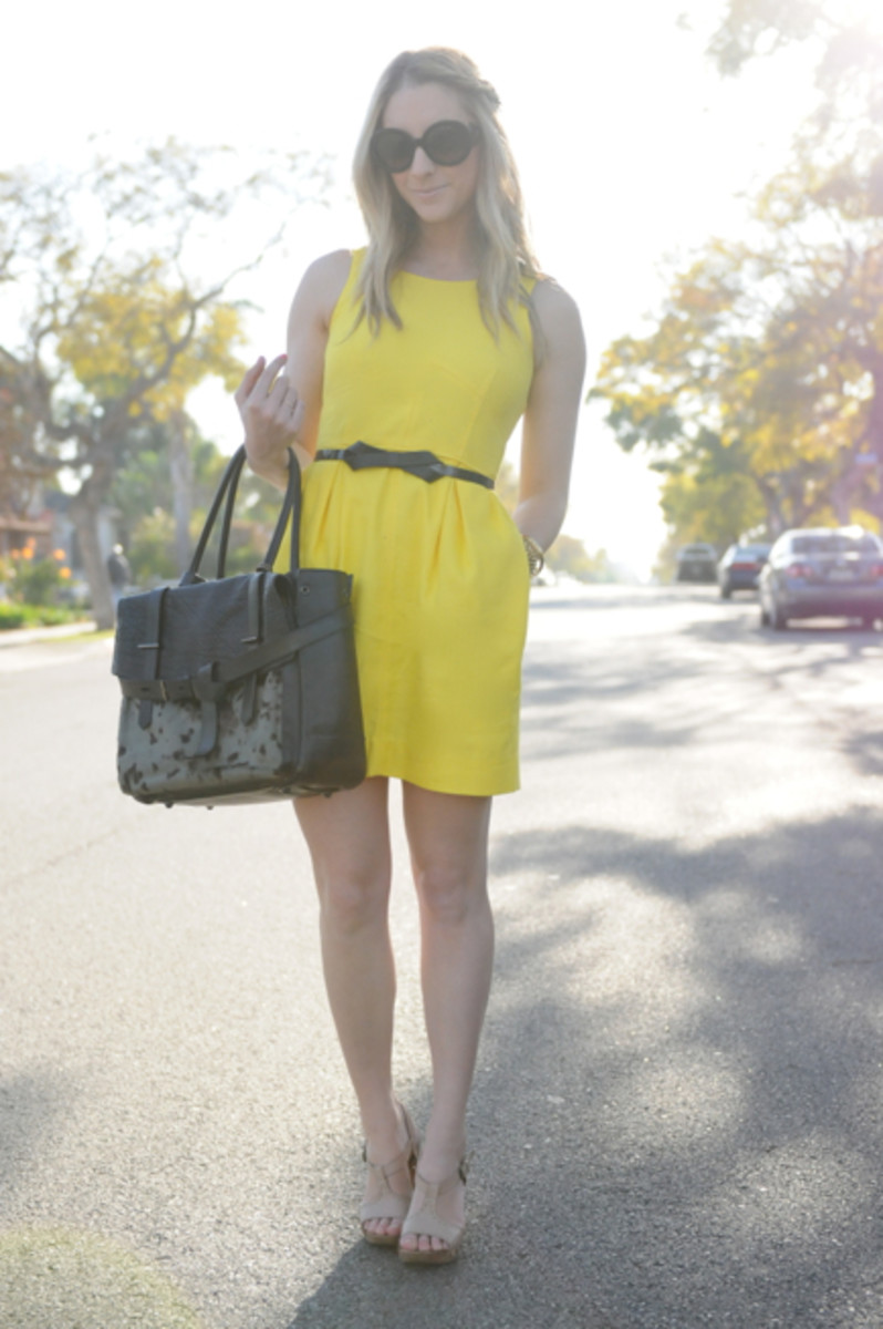 "Prada Sunglasses, J.Crew Dress, Maje Belt, Reed Krakoff Bag, Alberta Feretti Sandals, Essie ""Cute as a Button"" Nail Polish"