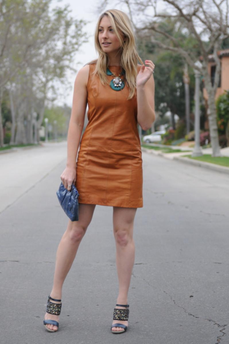 Gap Dress, Anthropologie Necklace, Vintage Clutch, Dries Van Noten Sandals,Essie Cute as a Button Nail Polish