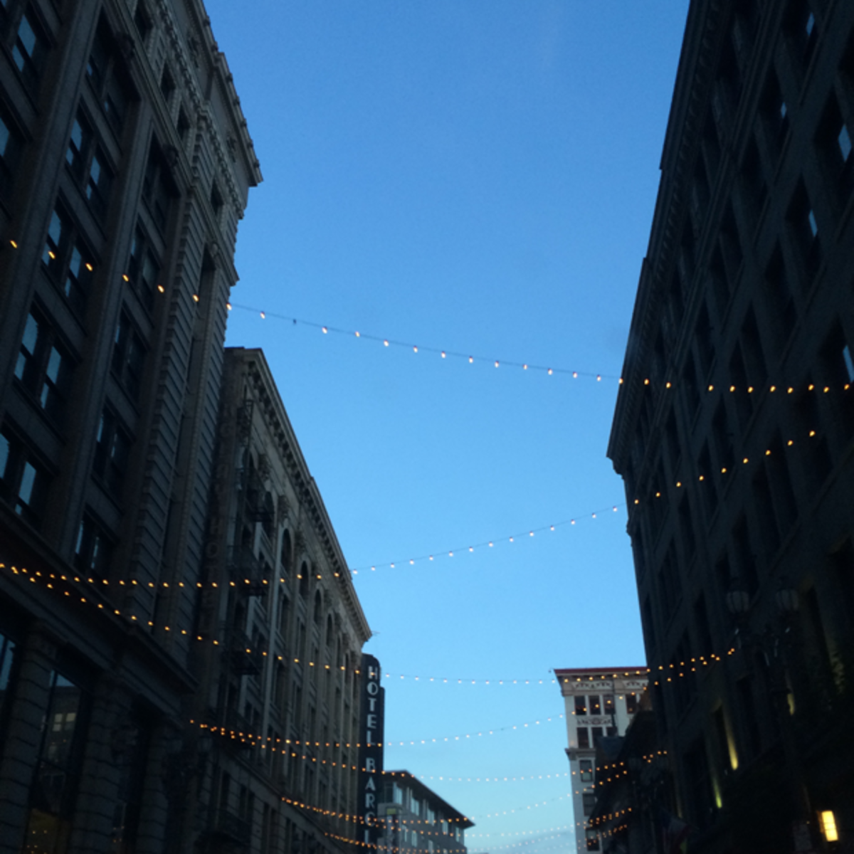 {Downtown twinkling lights}