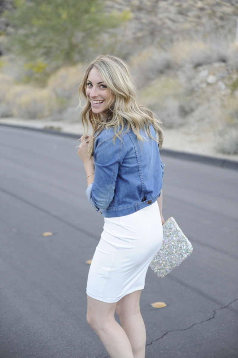 J.Crew Jean Jacket, Graham & Spencer Dress, Zara Clutch, J.Crew Pumps, Essie 'Cute as a Button' Nail Polish