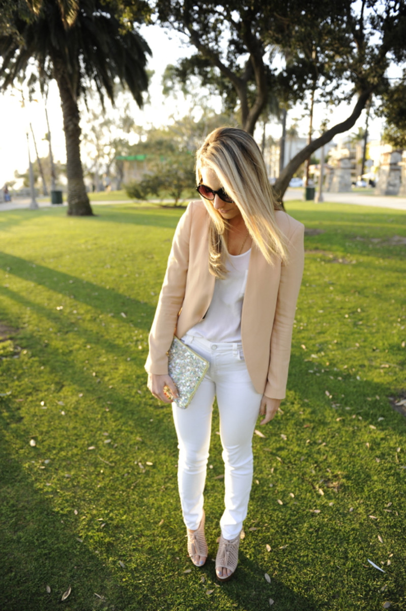 Free People Sunglasses, Zara Blazer, Club Monaco Top, J.Brand Jeans, Pencey Booties, Zara Clutch