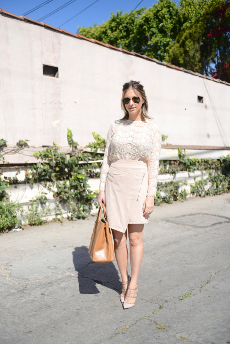 {Oversized Ray-Ban Aviators, Topshop Lace Top, Just Female Skirt, Valentino Heels, Essie 'Come Here' Nail Polish, Prada Bag}