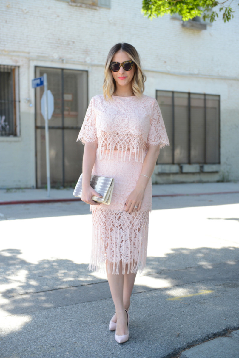 {Karen Walker Sunglasses (similar here), Topshop Lace Top and Skirt, Celine Pumps, Vintage Clutch, Maybelline 'Coral Crush' Lipstick}