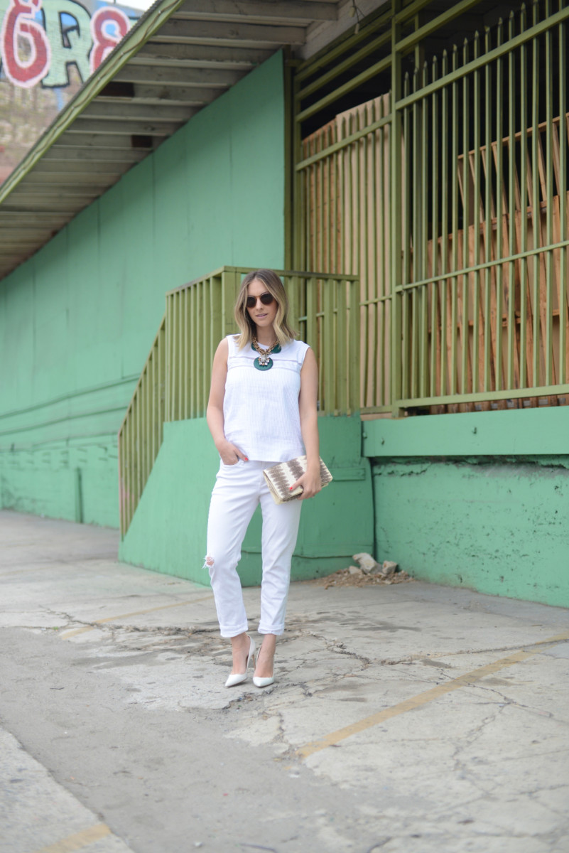 {Illesteva Sunglasses, J.Crew Top, Anthropologie Necklace, McGuire Jeans, Manolo Blahnik Pumps, Vintage Clutch}