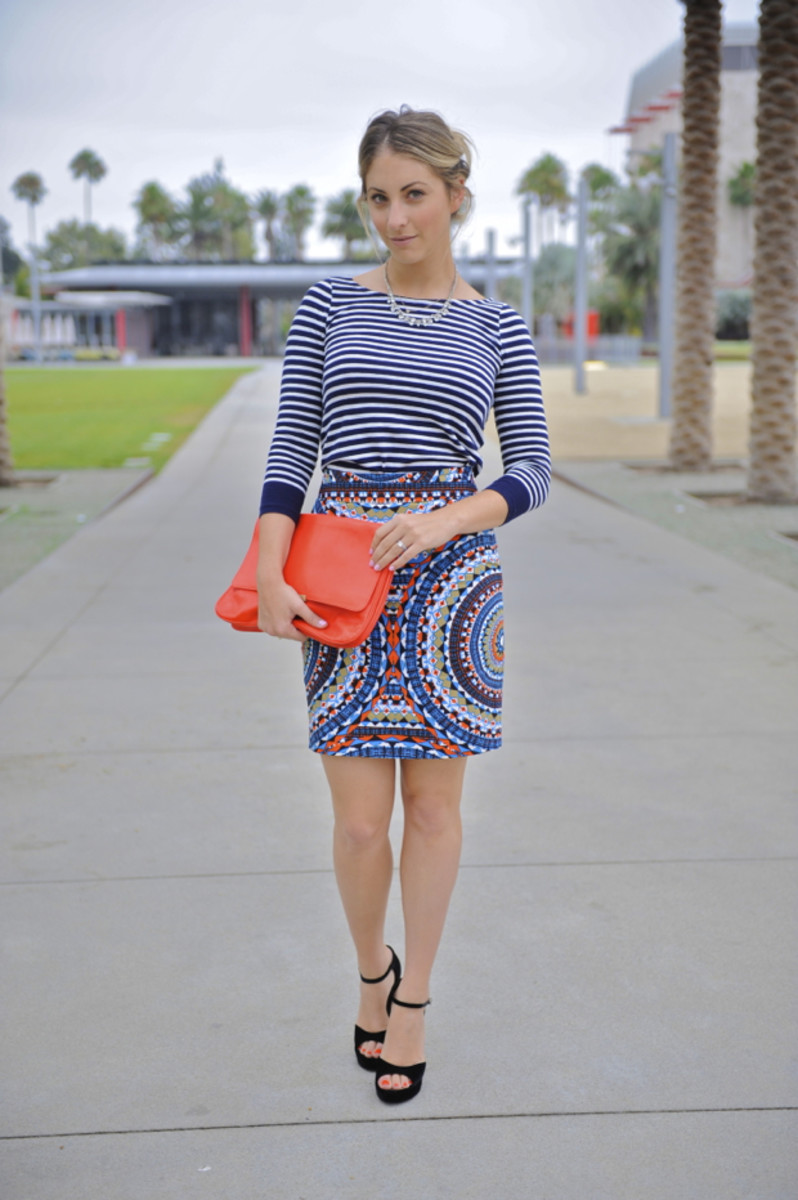 J.Crew Shirt, Vintage Necklace, Anthropologie Skirt, Chanel Heels, Zara Clutch