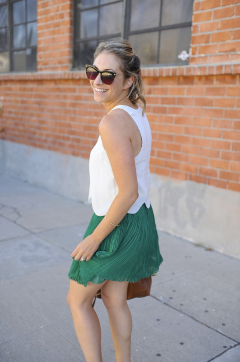 Elizabeth and James Sunglasses, Joie Top c/o, Club Monaco Skirt, Prada Heels, Mulberry Bag
