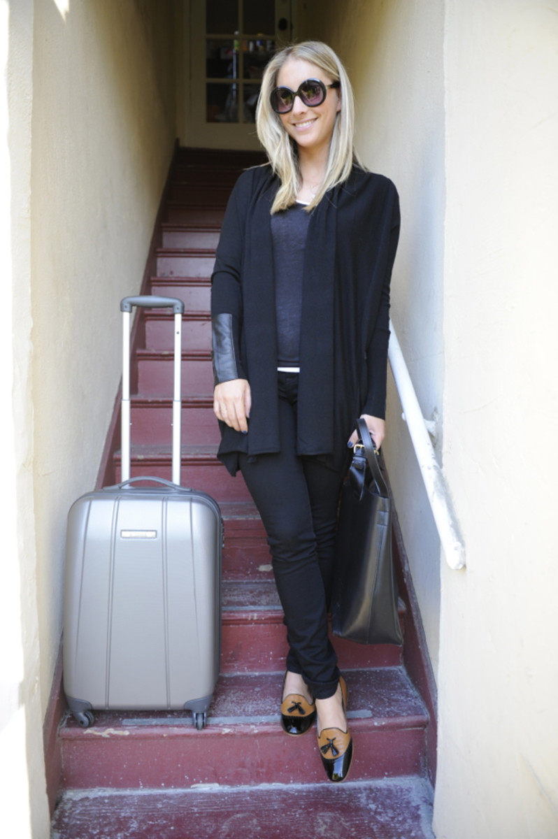{travel uniform: oversized sunglasses, tank tops, wrap sweater, stretchy jeans, big purse, stylish flats}