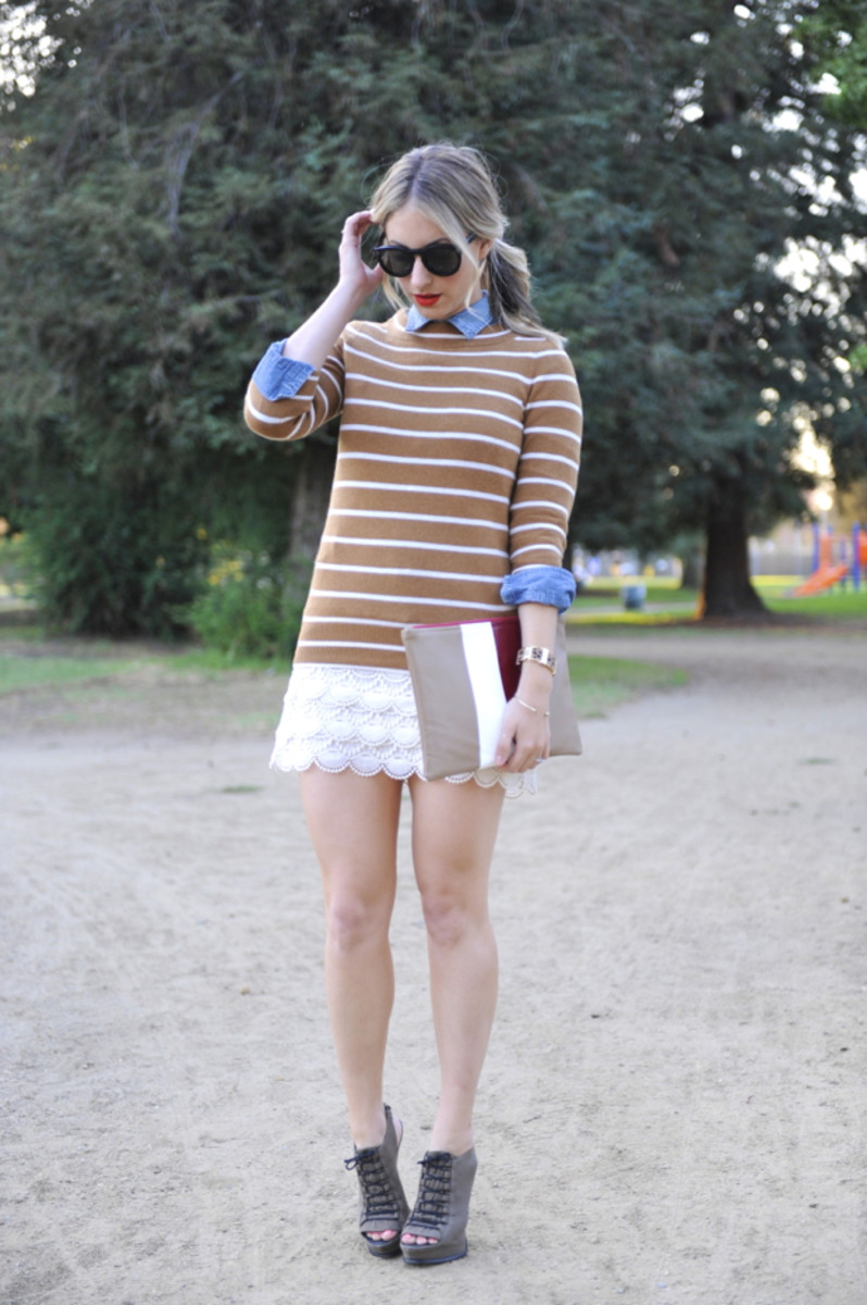 Celine Sunglasses, J.Crew Sweater, Chambray Shirt, and Bracelet, Club Monaco Skirt (similar here), Elizabeth and James Heels, Painted American Apparel Clutch, Est?e Lauder Stay Scarlet Lipstick