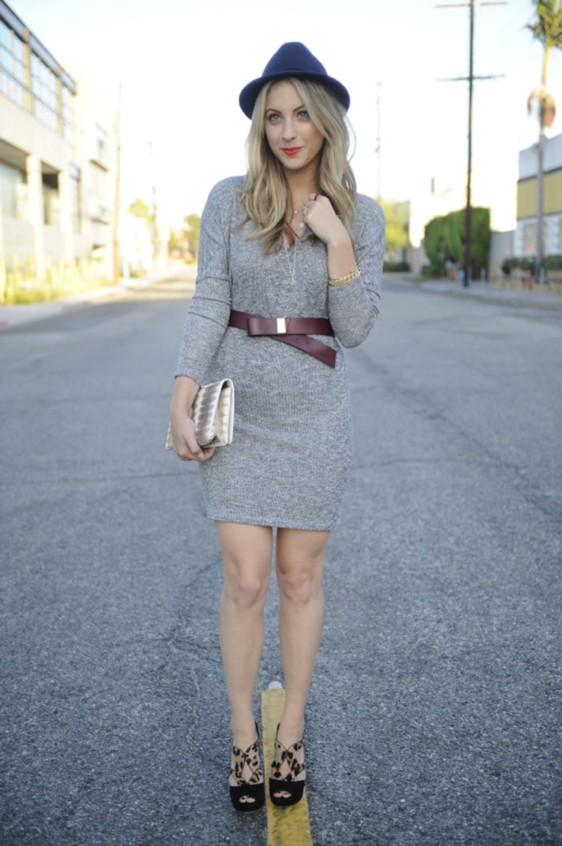 Club Monaco Hat, Velvet Sweater Dress, Maje Belt (similar here), Prada Heels, Vintage Clutch, Helen Ficalora Necklace