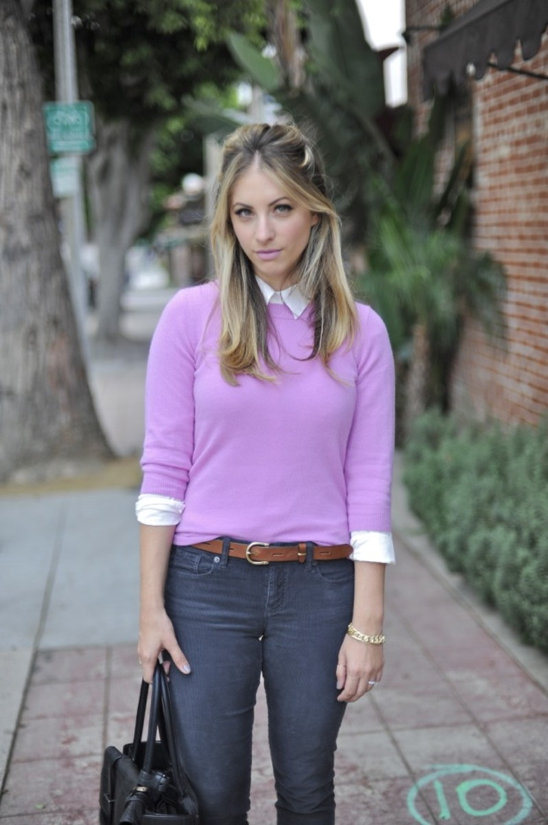 J.Crew Sweater, Club Monaco Blouse, Madewell Belt, J.Crew Cords, Prada Heels, Reed Krakoff Bag