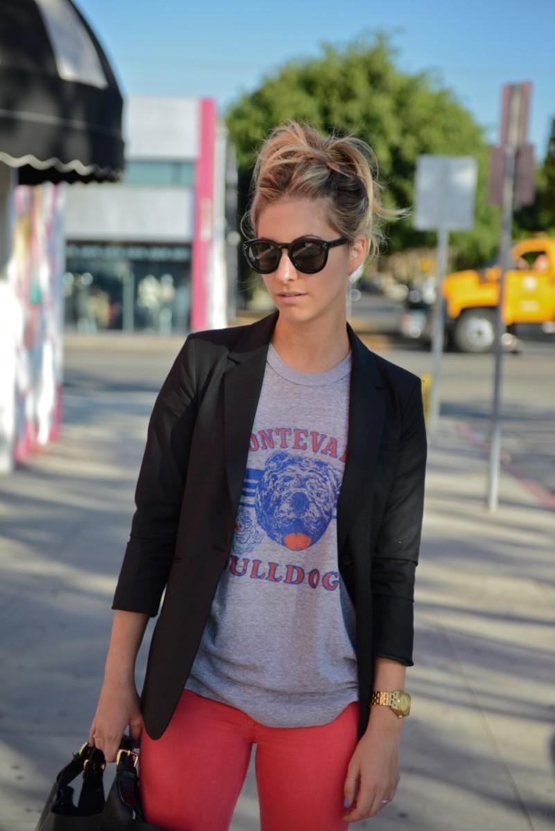 Celine Sunglasses, Elizabeth and James Blazer, Vintage t-shirt,Nixon Watch,Hudson Pants, Prada Heels, Zara Bag,Essie 'Boxer Shorts' Nail Polish