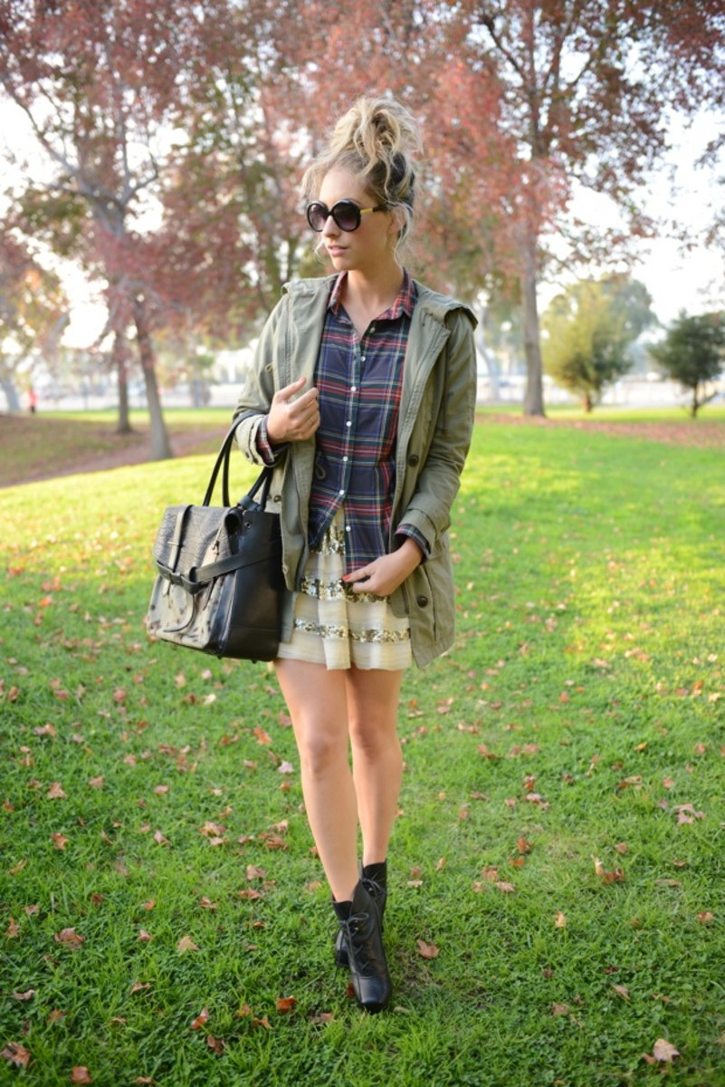 Elizabeth and James Sunglasses, J.Crew Shirt, Gap Jacket, Free People Skirt, Proenza Schouler Booties, Reed Krakoff Bag