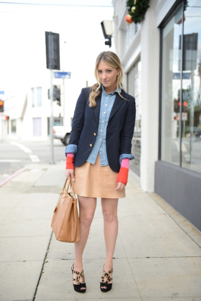 Vintage Blazer (similar here), Jacquie Aiche Ear Cuff, J.Crew Chambray, Enza Costa Sweater (last seen here), Alice + Olivia Skirt, Prada Bag and Shoes