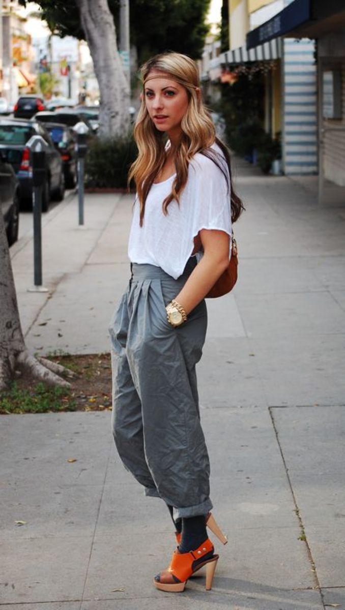 DIY Chain Hair Band, Planet Blue Departure Top, H&M Trousers, Jenny Yuen Bag, Michael Kors Watch, Vintage Bracelet, Marni Heels