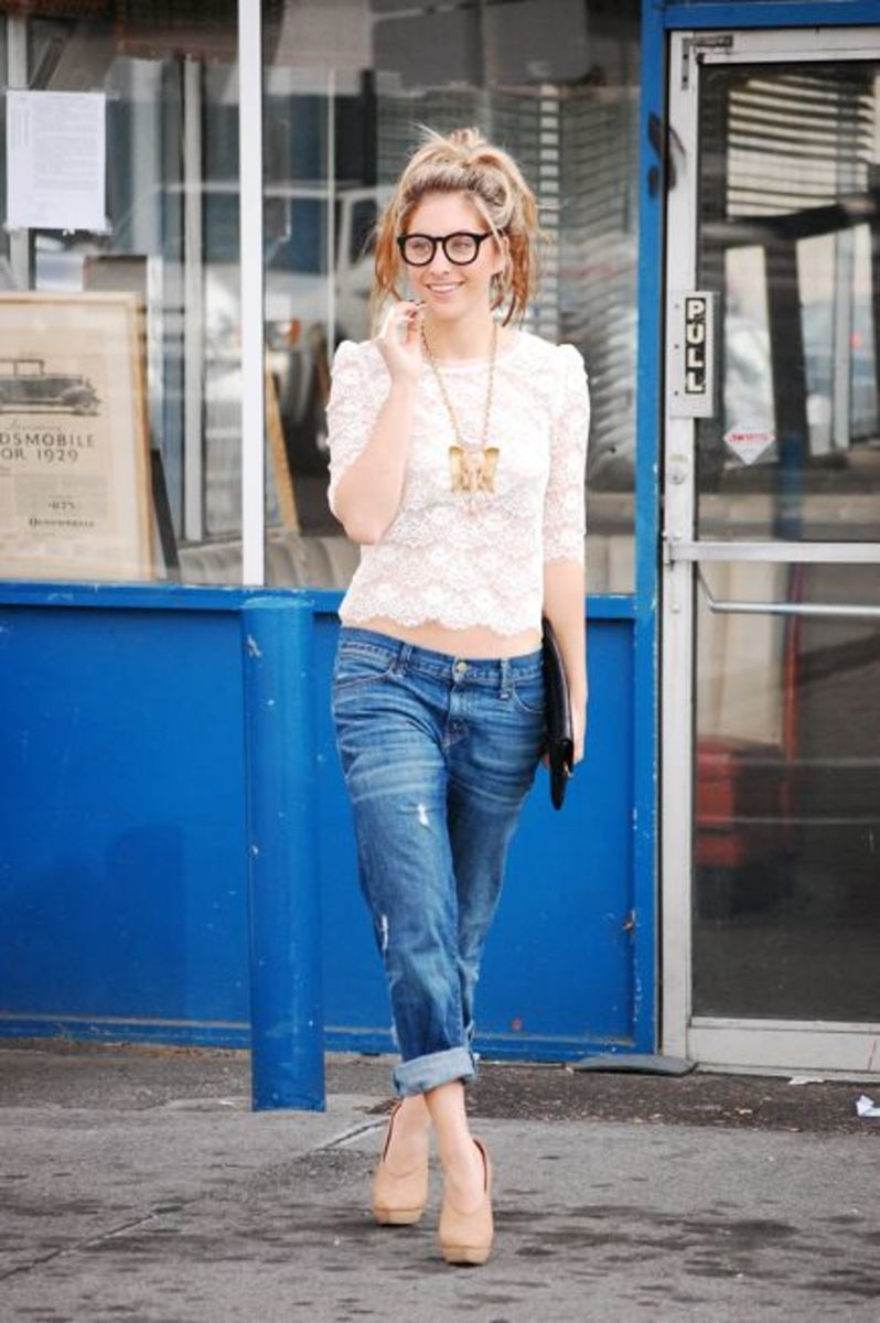 Forever 21 Top, Vintage Necklace, Glasses and Clutch, Gap Jeans, Alexander Wang Pumps, Planet Blue Ring